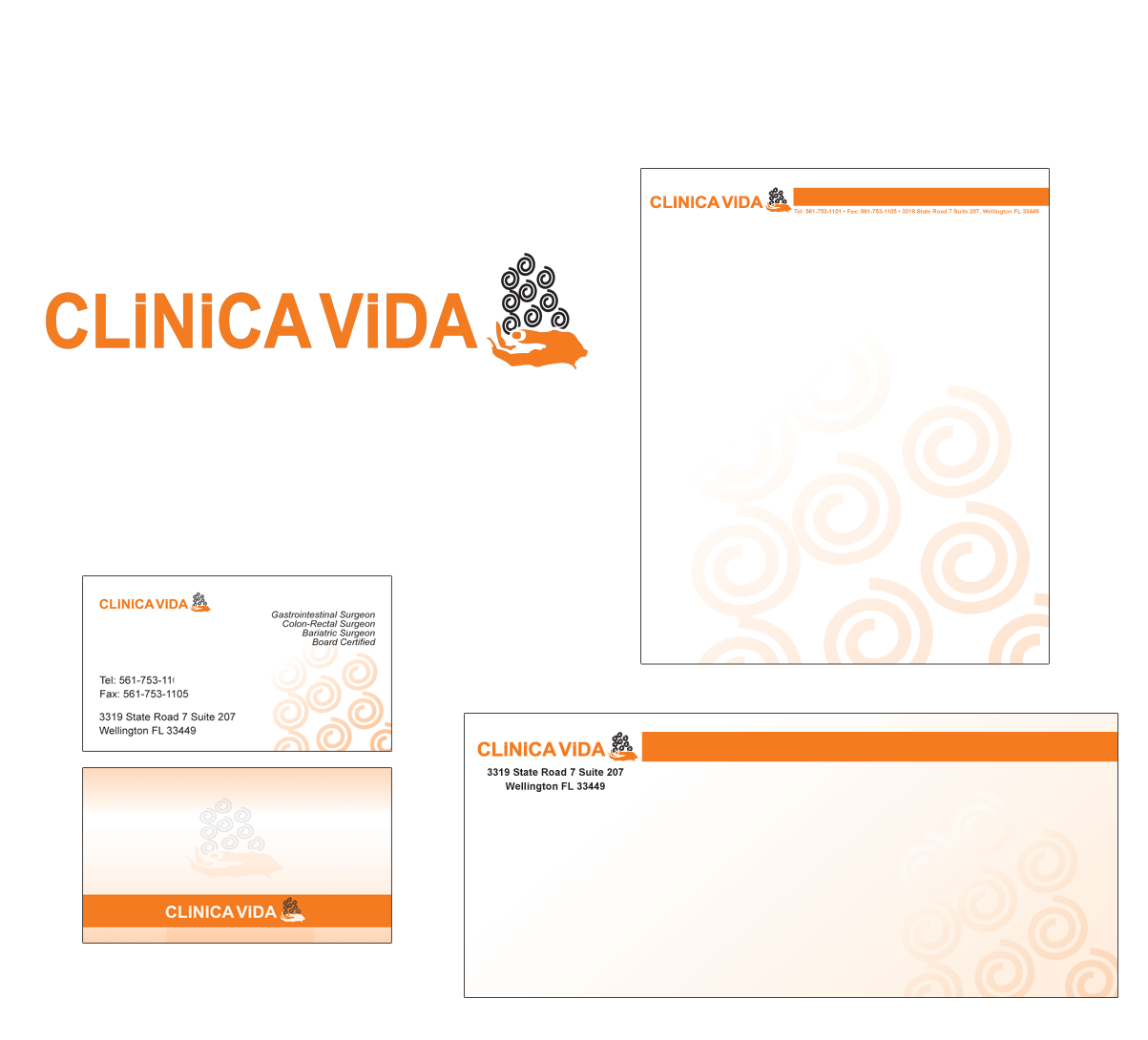 Clinica Vida Logo Design, business card, letterhead and enveloped design